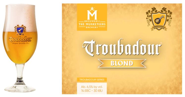 Troubadour Blond glas en label